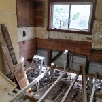 This is the kitchen after I had removed the old cupboards and tiling.